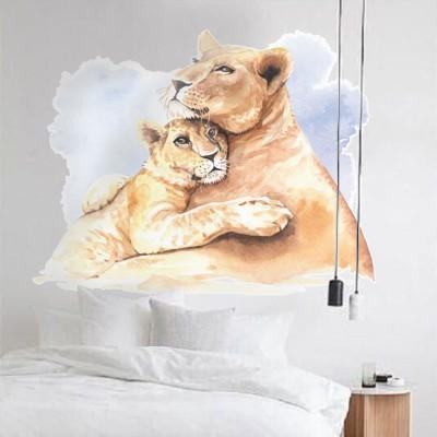 Μητέρα τίγρης με το παιδί Ζώα Αυτοκόλλητα τοίχου 80 x 60 εκ.