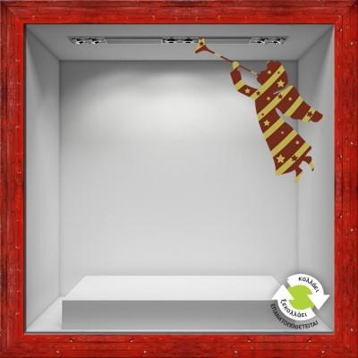 Αγγελάκι κόκκινο χρυσό Χριστουγεννιάτικα Αυτοκόλλητα βιτρίνας 56 x 50 cm
