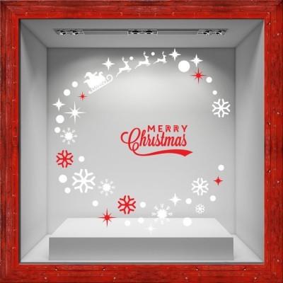 Merry Christmas Circle, Χριστουγεννιάτικα, Αυτοκόλλητα βιτρίνας