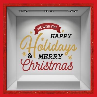 Happy Holidays, Χριστουγεννιάτικα, Αυτοκόλλητα βιτρίνας