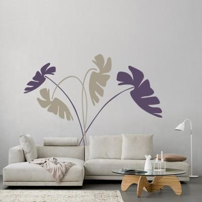 Πλατιά Λουλούδια Δέντρα - Λουλούδια Αυτοκόλλητα τοίχου 60 x 51 εκ.