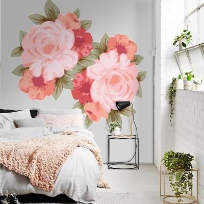Floral τριαντάφυλλα Δέντρα - Λουλούδια Αυτοκόλλητα τοίχου 55 x 52 εκ.