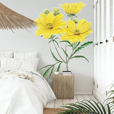 Κίτρινα Χρυσάνθεμα Δέντρα - Λουλούδια Αυτοκόλλητα τοίχου 65 x 106 εκ.