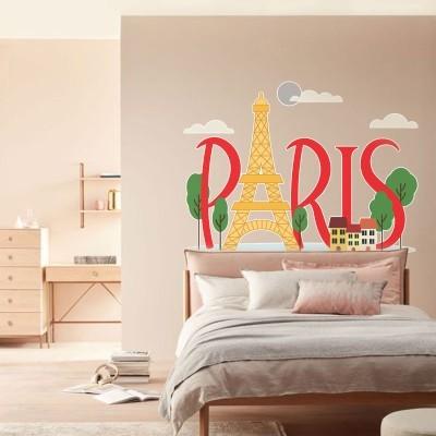Παρίσι Πύργος του Άιφελ Πόλεις Αυτοκόλλητα τοίχου 100 x 75 εκ.
