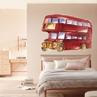 London Bus Πόλεις Αυτοκόλλητα τοίχου 100 x 75 εκ.