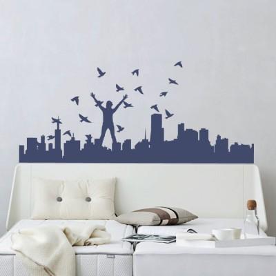 Πόλη με πουλιά Πόλεις Αυτοκόλλητα τοίχου 92 x 40 εκ.