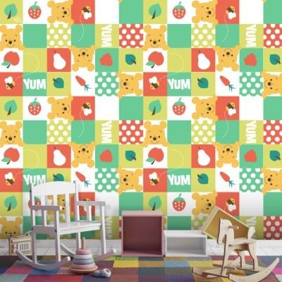 Μοτίβο με το Winnie και φρούτα! Παιδικά Ταπετσαρίες Τοίχου 100 x 100 cm