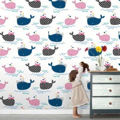 Χαριτωμένες φάλαινες, Mickey Mouse Παιδικά Ταπετσαρίες Τοίχου 100 x 100 εκ.
