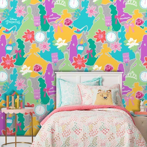 39bb45102d0 Πολύχρωμο μοτίβο με πριγκίπισσες, Princess - Ταπετσαρίες Τοίχου - Disney