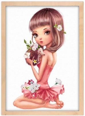 Κοπέλα κρατάει σκαντζόχοιρο Παιδικά Πίνακες σε καμβά 20 x 30 εκ.