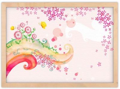 Παραμυθένιο ροζ σκηνικό Παιδικά Πίνακες σε καμβά 30 x 20 εκ.