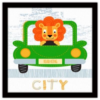 Λιονταράκι στο αυτοκίνητο Παιδικά Πίνακες σε καμβά 40 x 40 εκ.