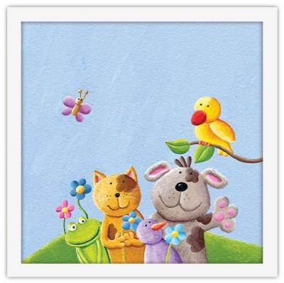 Χαρούμενα ζωάκια Παιδικά Πίνακες σε καμβά 40 x 40 εκ.