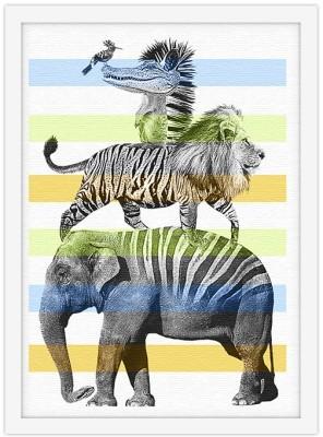 Τα ζώα της ζούγκλας Παιδικά Πίνακες σε καμβά 20 x 30 εκ.