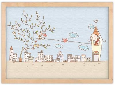 Χαριτωμένη μικρή πόλη Παιδικά Πίνακες σε καμβά 30 x 20 εκ.