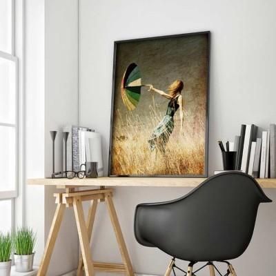 Κορίτσι με Ομπρέλα, Vintage, Πίνακες σε καμβά