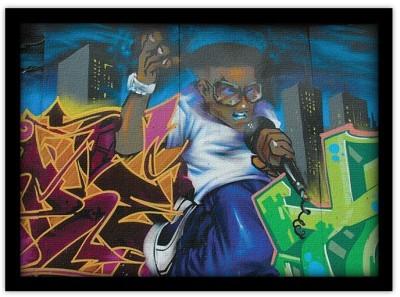 Ράπερ τραγουδιστής, Street art, Πίνακες σε καμβά