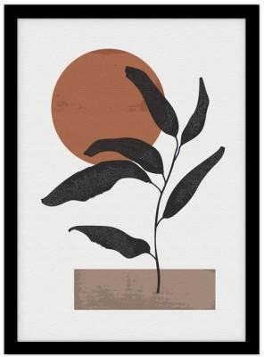 Φυτό στο ηλιοβασίλεμα Line Art Πίνακες σε καμβά 20 x 30 εκ.