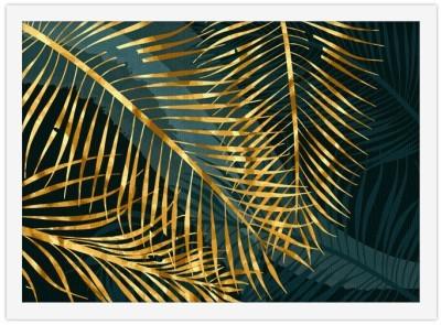 Χρυσά τροπικά φύλλα Line Art Πίνακες σε καμβά 30 x 20 εκ.