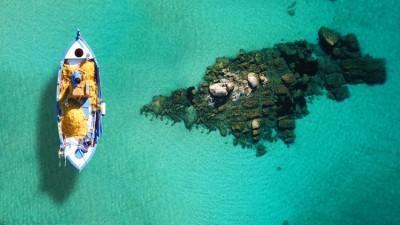 Διάσημη τυρκουάζ παραλία Ψαρού - Μύκονος, Κυκλάδες, Ελλάδα, Image Gallery