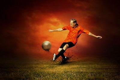 Παίκτης ποδοσφαίρου στο γήπεδο