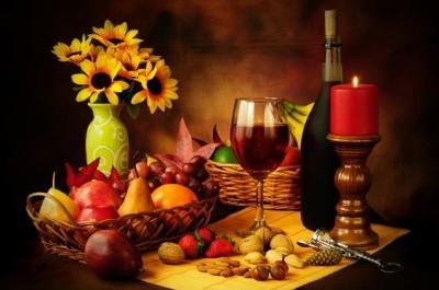 Κρασί, φρούτα και ξηροί καρποί