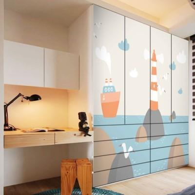 Φάρος και καράβι Παιδικά Αυτοκόλλητα ντουλάπας 100 x 100 εκ.