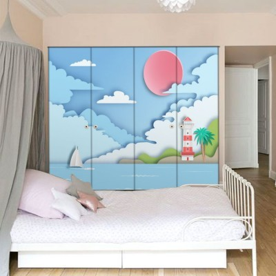 Μπλε Τοπίο Παιδικά Αυτοκόλλητα ντουλάπας 100 x 100 εκ.