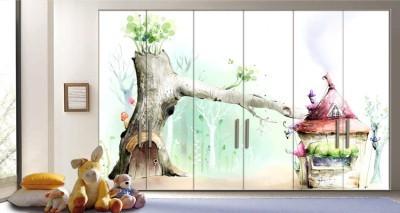 Παστέλ ρομαντικό παιδικό φόντο Παιδικά Αυτοκόλλητα ντουλάπας 65 x 185 cm