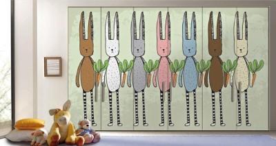 Κουνέλια και καρότα Παιδικά Αυτοκόλλητα ντουλάπας 65 x 185 cm