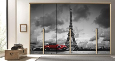 Kόκκινο αυτοκίνητο, Πύργος του Άιφελ, Πόλεις - Ταξίδια, Αυτοκόλλητα ντουλάπας