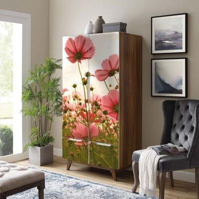 Λουλούδια στη φύση, Vintage, Αυτοκόλλητα ντουλάπας