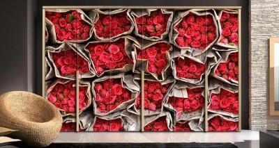 Κόκκινα τριαντάφυλλα, Φόντο - Τοίχοι, Αυτοκόλλητα ντουλάπας