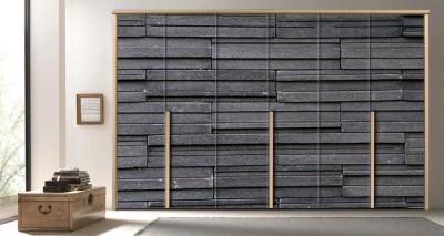 Σκούρος πέτρινος τοίχος Φόντο - Τοίχοι Αυτοκόλλητα ντουλάπας 65 x 185 cm