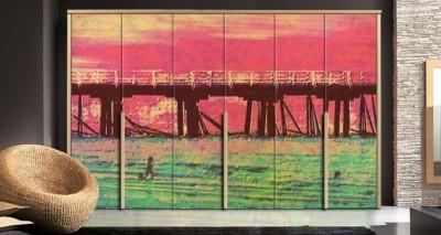 Γέφυρα στο ηλιοβασίλεμα Ζωγραφική Αυτοκόλλητα ντουλάπας 65 x 185 cm