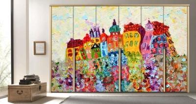 Πίνακας πολύχρωμων σπιτιών, Ζωγραφική, Αυτοκόλλητα ντουλάπας