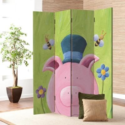 Χαριτωμένο ροζ γουρουνάκι Παιδικά Παραβάν 80 x 180 εκ. [Δίφυλλο]