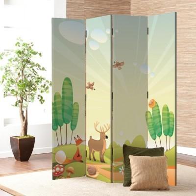 Ζωάκια στο δάσος Παιδικά Παραβάν 80 x 180 εκ. [Δίφυλλο]