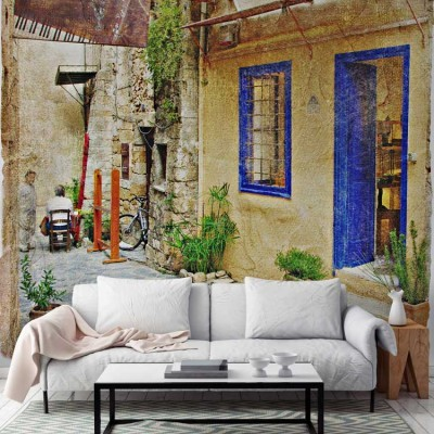 Δρομάκι σε χωριό Ελλάδα Ταπετσαρίες Τοίχου 100 x 100 εκ.