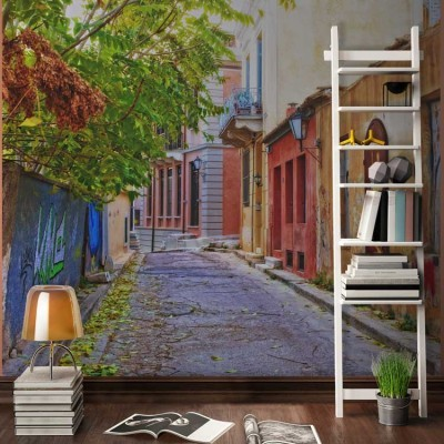 Σπίτια στην Πλάκα Ελλάδα Ταπετσαρίες Τοίχου 100 x 100 εκ.