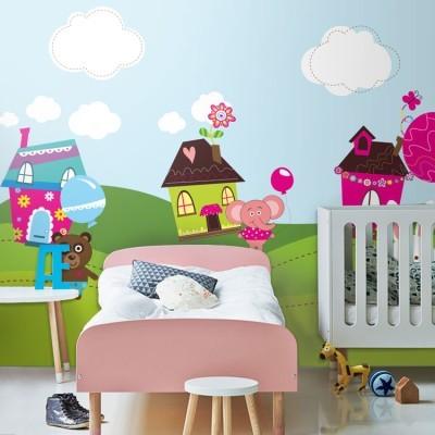 Χαρούμενα ζωάκια με μπαλόνια Παιδικά Ταπετσαρίες Τοίχου 100 x 100 εκ.