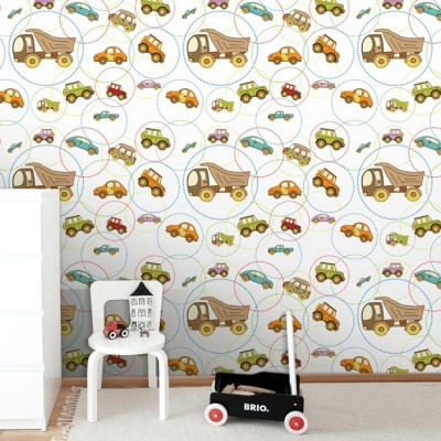Μοτίβο με αυτοκινητάκια και κύκλους Παιδικά Ταπετσαρίες Τοίχου 100 x 100 εκ.