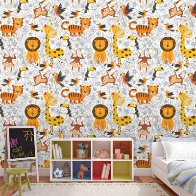 Μοτίβο με ζωάκια ζούγκλας Παιδικά Ταπετσαρίες Τοίχου 100 x 100 εκ.