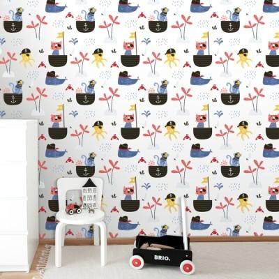 Μικροί Πειρατές Παιδικά Ταπετσαρίες Τοίχου 100 x 100 εκ.