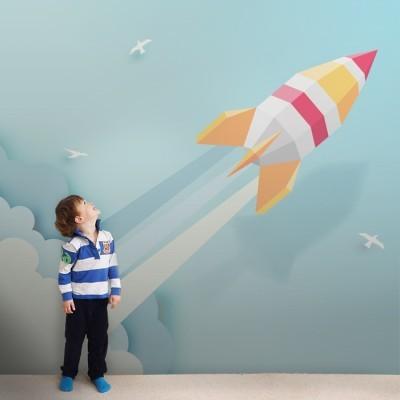 Εκτόξευση Πυραύλου Παιδικά Ταπετσαρίες Τοίχου 100 x 100 εκ.