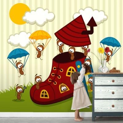 Μυρμήγκια χτίζουν σπίτι Παιδικά Ταπετσαρίες Τοίχου 100 x 100 εκ.
