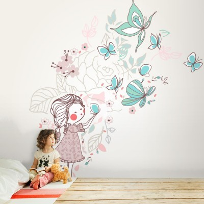 Κοριτσάκι φυσάει πεταλούδες Παιδικά Ταπετσαρίες Τοίχου 100 x 100 εκ.
