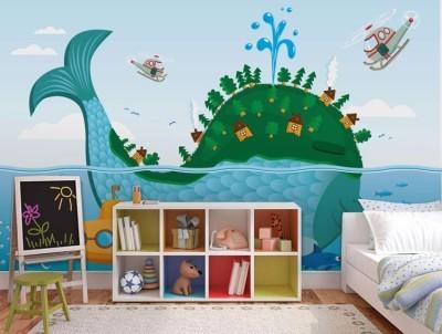 Φάλαινα Παιδικά Ταπετσαρίες Τοίχου 100 x 100 εκ.
