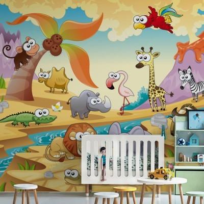 Ζώα στην έρημο Παιδικά Ταπετσαρίες Τοίχου 100 x 100 εκ.
