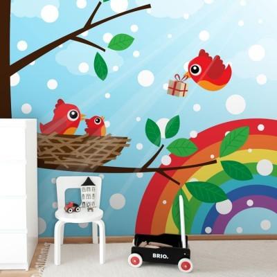 Οικογένεια πουλιών σε ουράνιο τόξο Παιδικά Ταπετσαρίες Τοίχου 100 x 100 εκ.